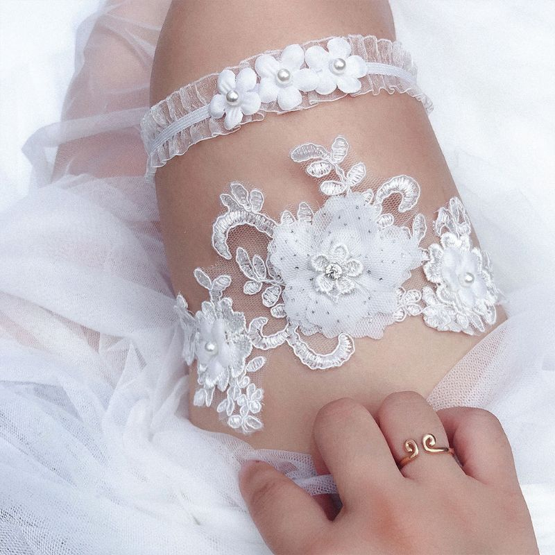2Pcs/Set Womens Bridal Stretch Wedding Thigh Rings Embroidery Flower Faux Pearl Rhinestone Jewelry Prom Party Leg Garter Belt
