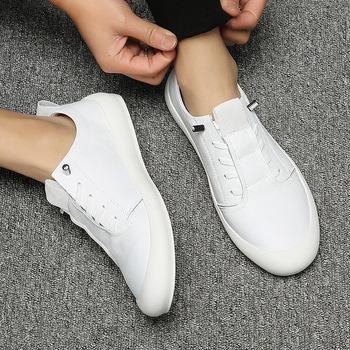 Męskie trampki miękkie skórzane obuwie płaskie modne markowe trampki męskie białe buty męskie mokasyny męskie modne buty tanie i dobre opinie SIMPLEXEVER RUBBER Slip-on Pasuje prawda na wymiar weź swój normalny rozmiar Stałe Oddychające latex Cotton Fabric