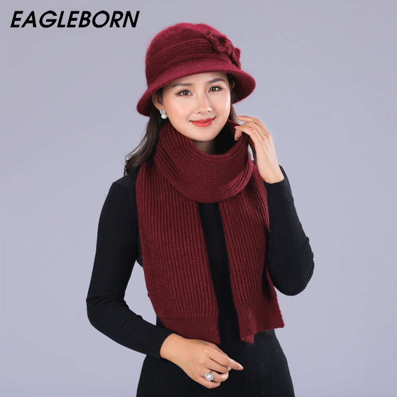 New Women Hat Scarf Set Winter Mom Hat And Scarf Set For Women Rabbit Fur Hat Fending Luxury Winter Knitted Women Bucket HatWarm