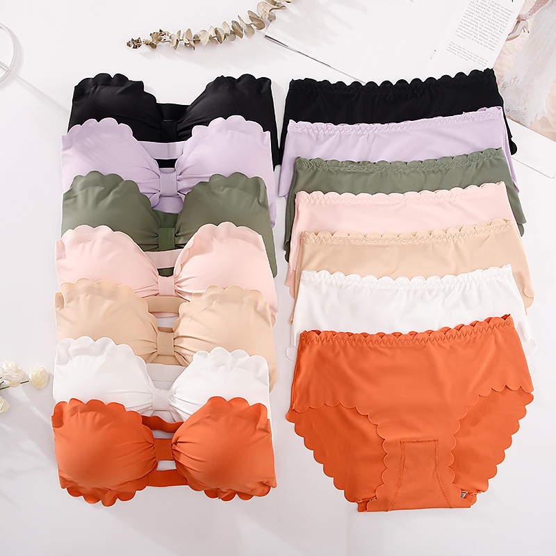 Sexy Bra Briefs Set Women Underwear Strapless Seamless Panties Brassiere Female Lingerie