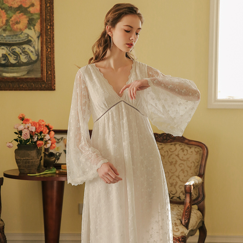 Nightgown Women Long Sleeve Nightdress Sleepwear Lace White Dress Princess Lady Gowns Palace Vintage Nightgown Aestheticism