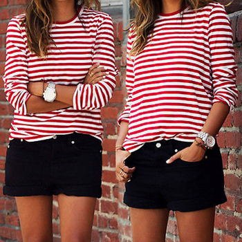 Casual Women Red White Striped Long Sleeve T Shirt Cotton Loose Shirt Female Basic O-Neck Tops Tee Autumn Pullovers embroidered striped sleeve tee