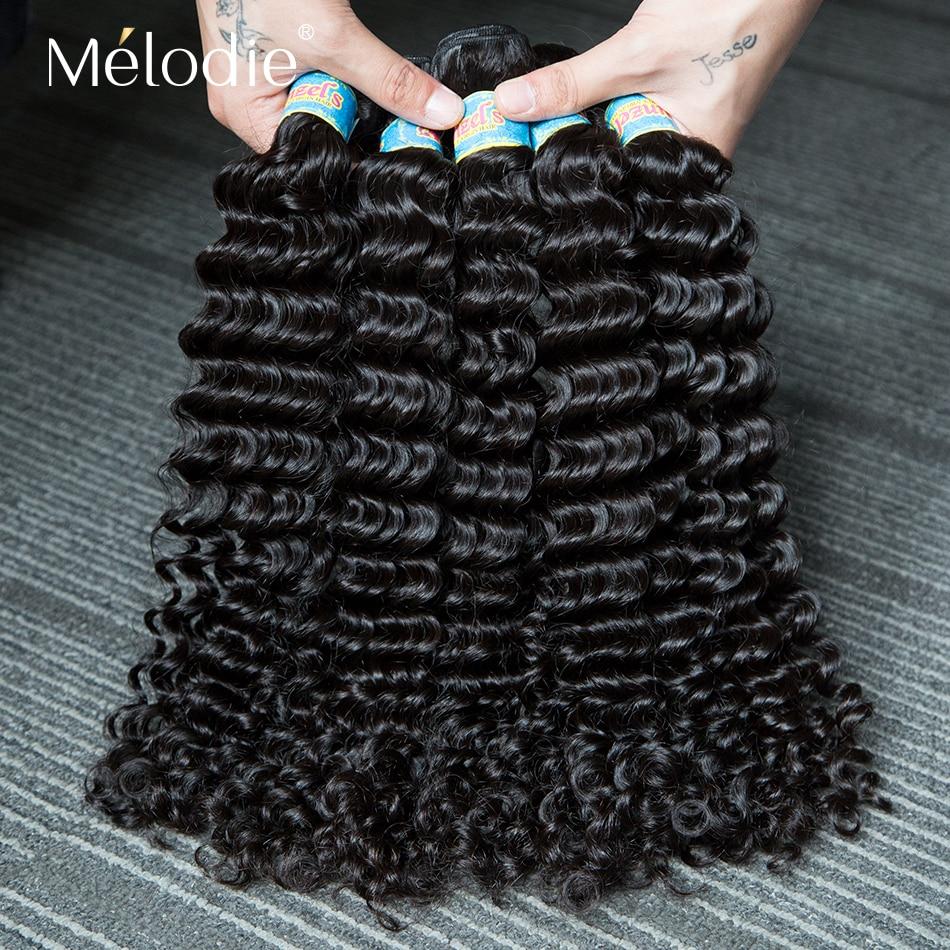 Волосы Melodie 10A, глубокая волна, 28, 30 дюймов Пряди, перуанское сырье, натуральные необработанные человеческие волосы, наращивание