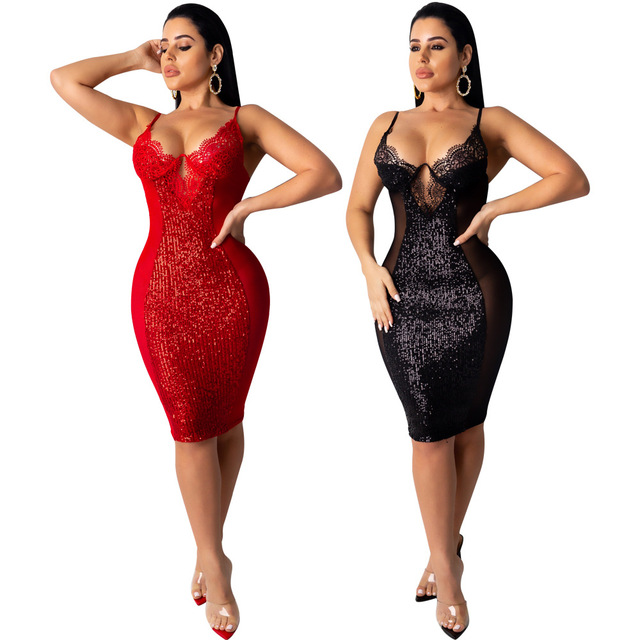Sexy Lace See Through Dress Women Bodycon Backless Sequin Mini Dress Elegant Hollow Out Evening Party Shiny Dresses Plus Size 1