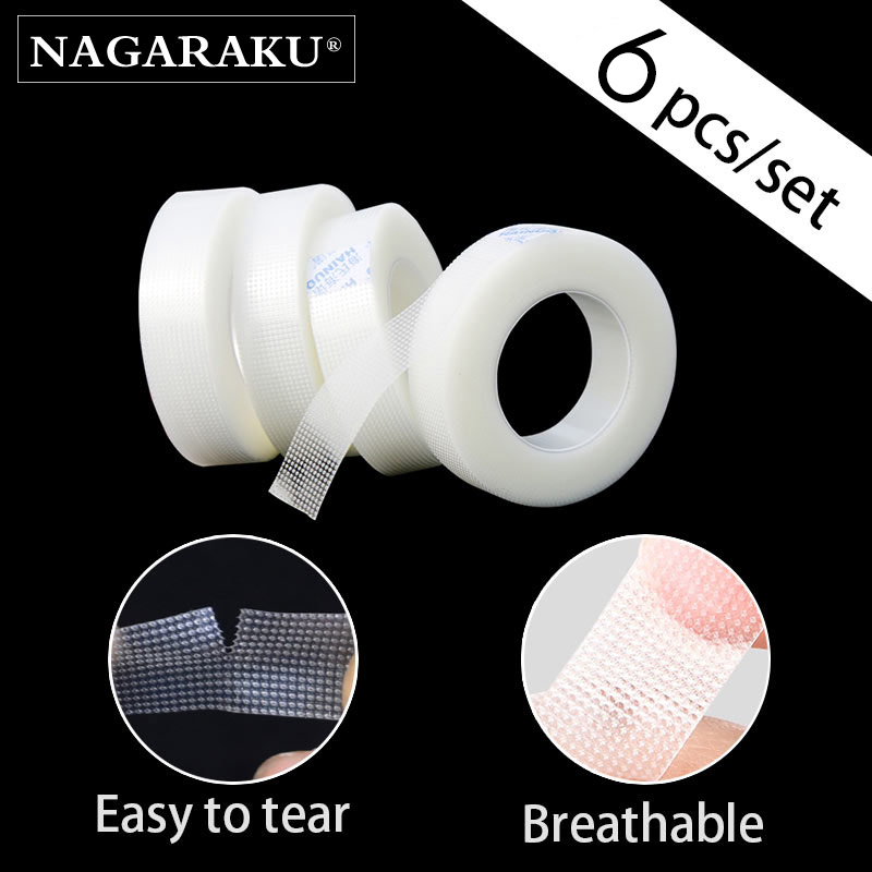 NAGARAKU Eyelash Extension Makeup 6 PCS/Set Breathable Easy to Tear Micropore Medical Tape Professional Supply Lashes Tape