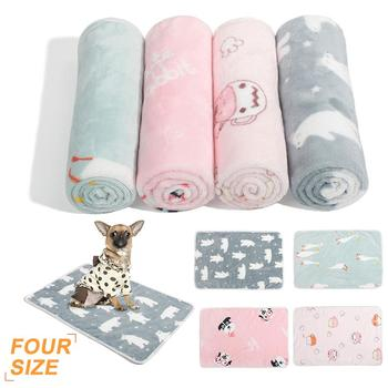 Pets Mat Cartoon Animal Print Soft Warm Fleece Pet Dogs Cats Bed Mat Blanket Towel Fleece Print Design Pet Supplies image