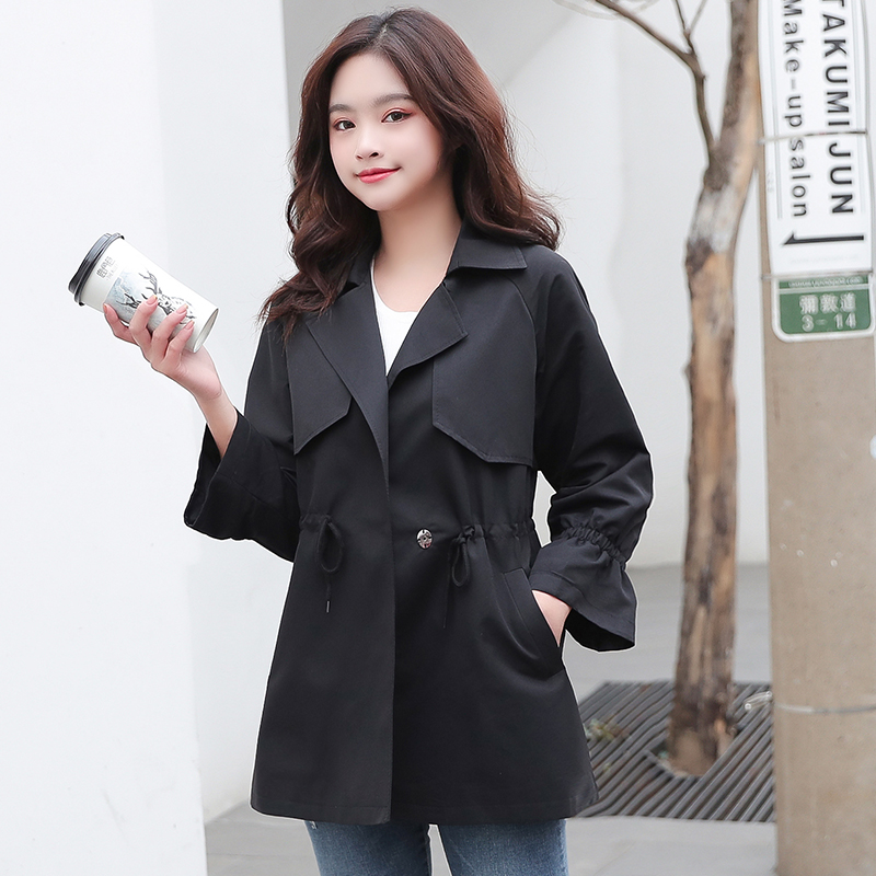 Women's Windbreaker 2020 new Spring Autumn Fashion Casual Wild Jacket Solid Color Women's Cotton Loose Coat Tops