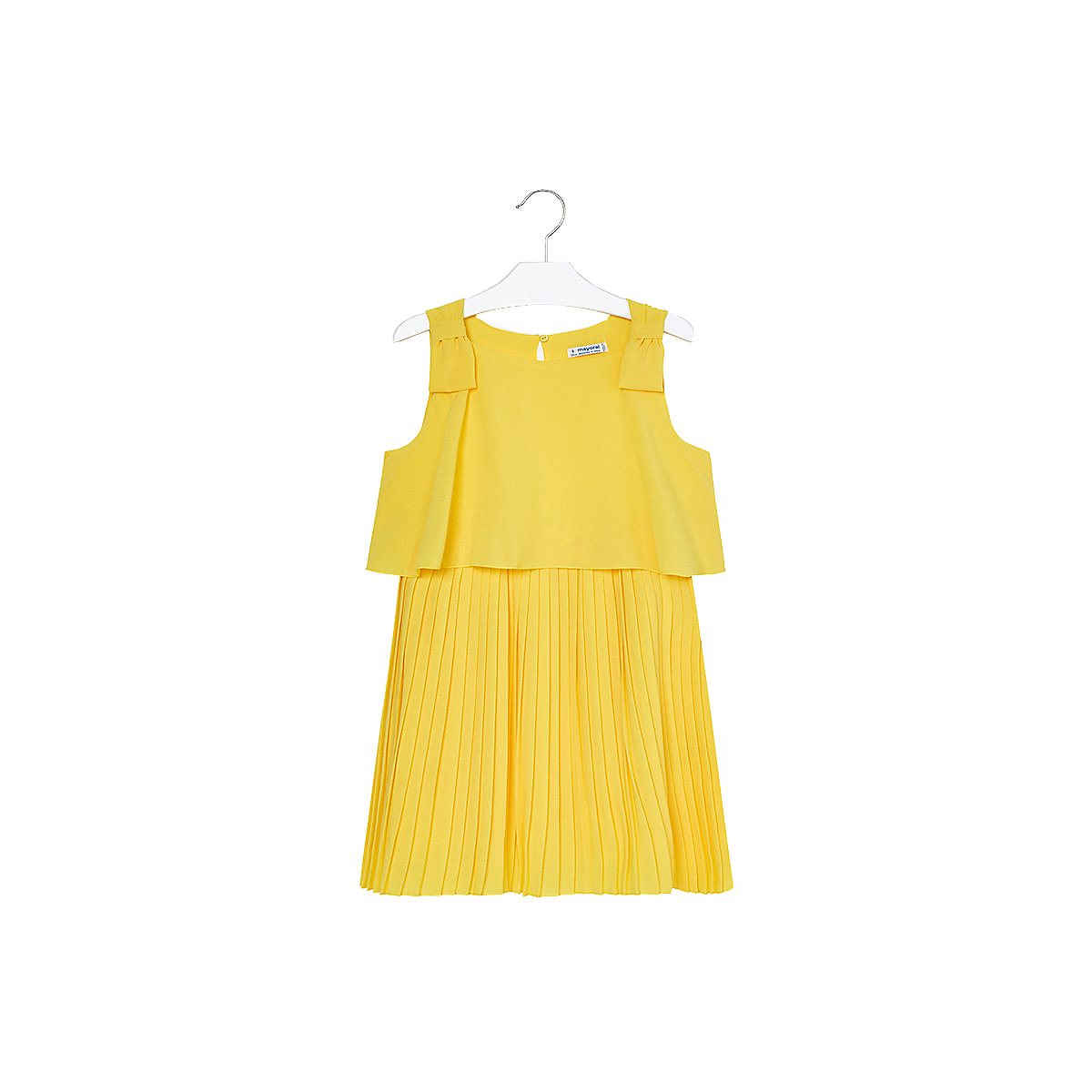 MAYORAL Dresses 10685971 Girl Children fitted pleated skirt Yellow Polyester Casual Solid Knee-Length Sleeveless Sleeve navy velvet mini pleated skirt