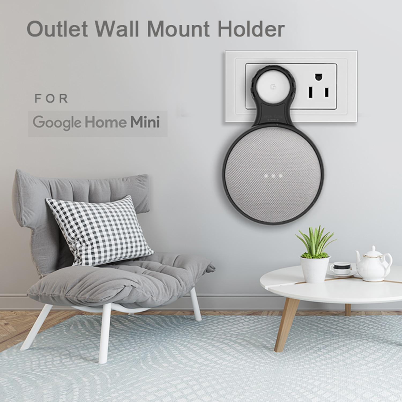Smart Home Outlet Wall Mount Stand Hanger Holder For Google Home Mini Voice Assistant Fit US/EU Plug NOT Fit UK Plug