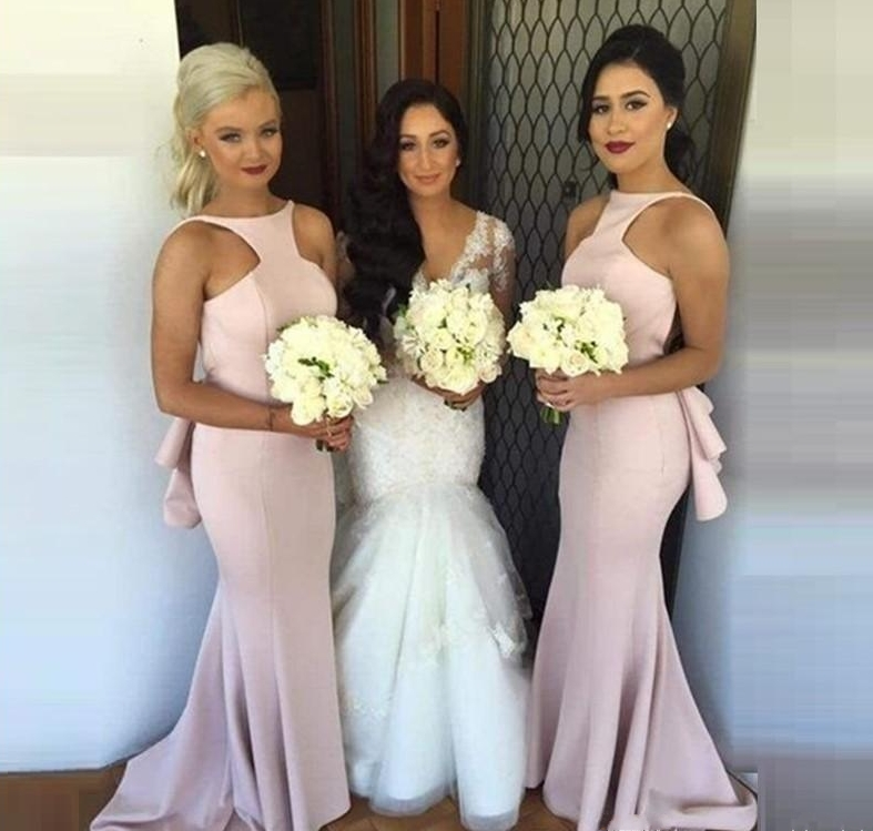 New Arrival 2020 Spring Fashion Mermaid Wedding Party Gowns Glamorous Pink Long Bridesmaids Dresses Halter