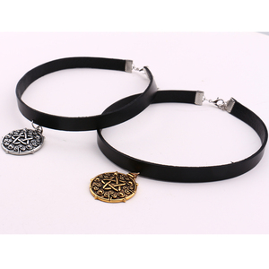 Yennefer Medallion Pendant Black Leather Choker Necklace Wizard 3 Wild Hunt Game Cosplay Gothic Necklace Women Jewelry(China)