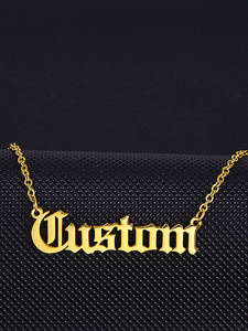 Necklace Customized Jewelry Nameplate Gifts Stainless-Steel English-Style Old