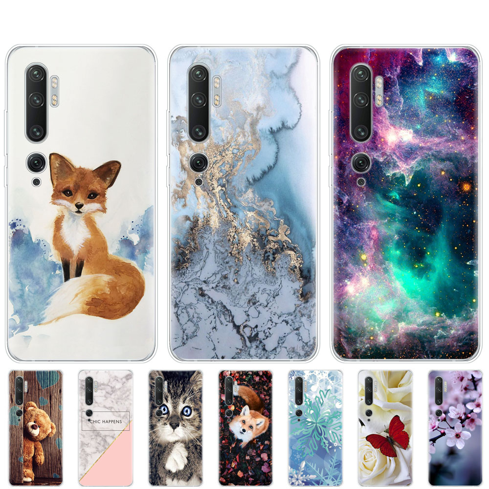Case For xiaomi Mi Note 10 Case TPU soft Silicon Cover For xiomi Mi Note10 Mi Note10Pro coque bumper Skin shockproof cute fox