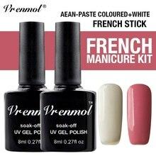 Vrenmol полигель Whtie+ розовый Цвет Гель-лак для ногтей+ наконечник для французских направляющих для ногтей Semic Перманентный УФ-гель лак для ногтей маникюр