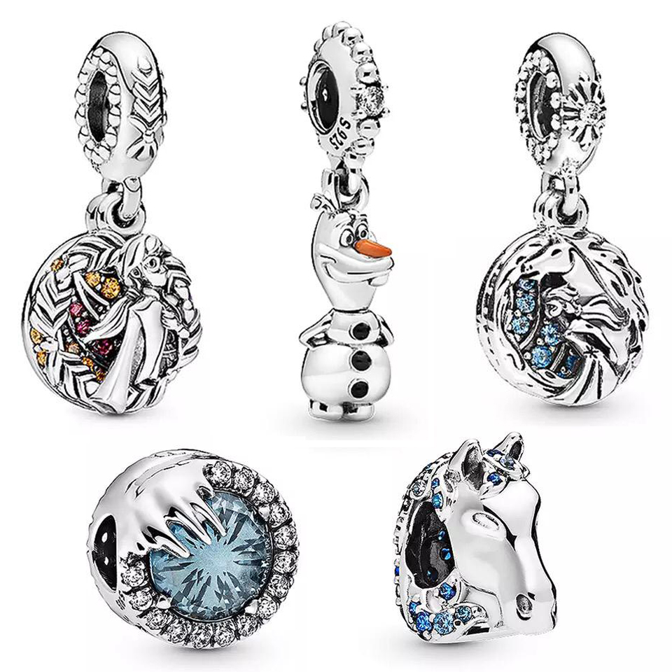 2019-NEW-100-925-Sterling-Silver-Winter-Crystal-Bead-Olaf-Dangle-Charm-Pendant-Fit-DIY-Bracelet