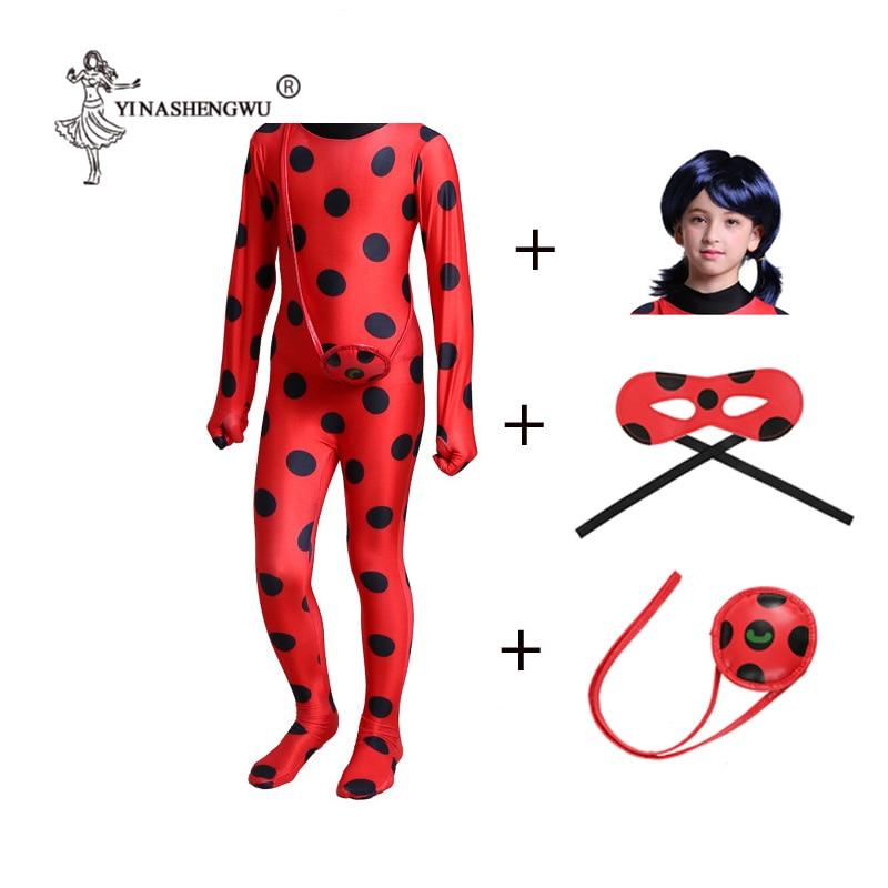 Cosplay Ladybug Girls Costume Fantasia Kids Adult Lady Bug Costumes Women Child Spandex Jumpsuit Fancy Halloween Marinette Wig