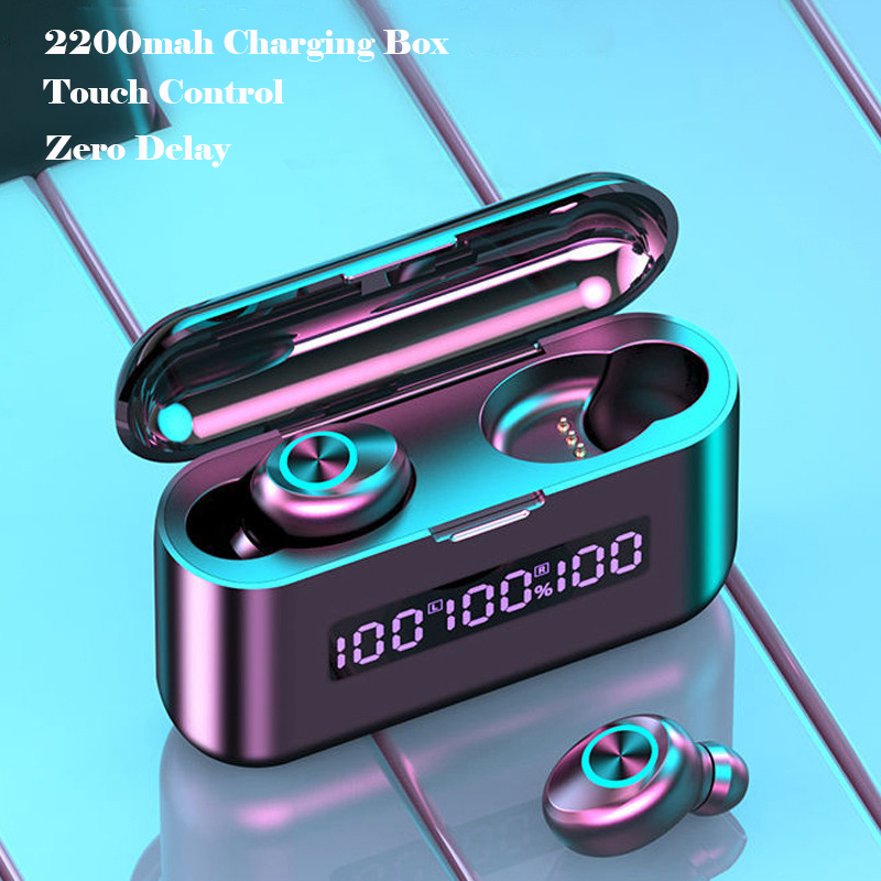 Auriculares TWS inalámbricos por Bluetooth, Auriculares deportivos impermeables con cargador de 2000mAh, auriculares estéreo HiFi con micrófono