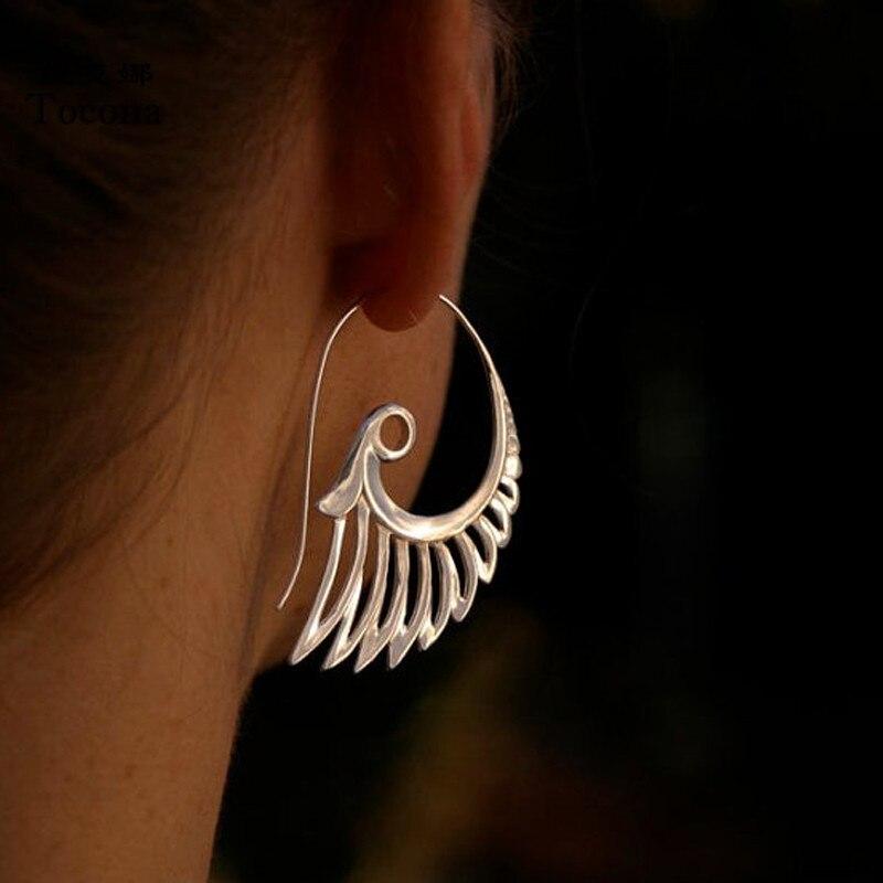 Tocona Indian Tribal Vintage Drop Earring Flower Ornate Swirl Gypsy Wing Dangle Earring for Women Bohemian Jewelry 9025
