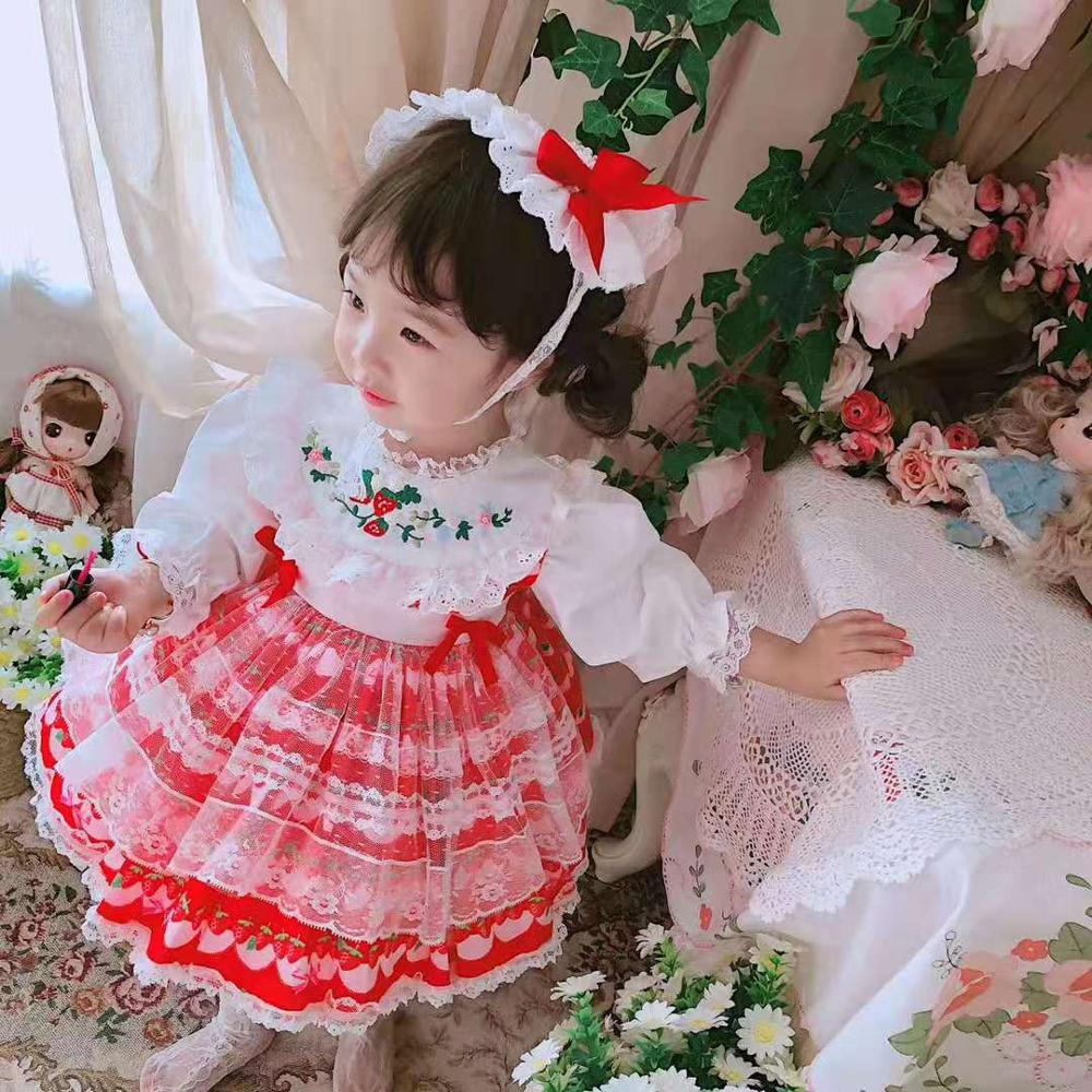 Autumn Winter Vintage Spanish Princess Ball Gown Lolita Party Dress Long Sleeve for Cute Girl Turkey Strawberry Bow Dress 0-8Y