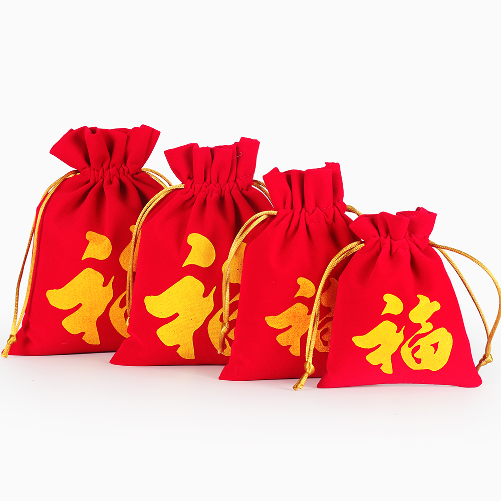 20pcs/lot 10x12, 11x15, 14x18, 16x20 Cm Chinese Fu Red Velvet Drawstring Bags New Year Decor Favors Christmas Package Pouch