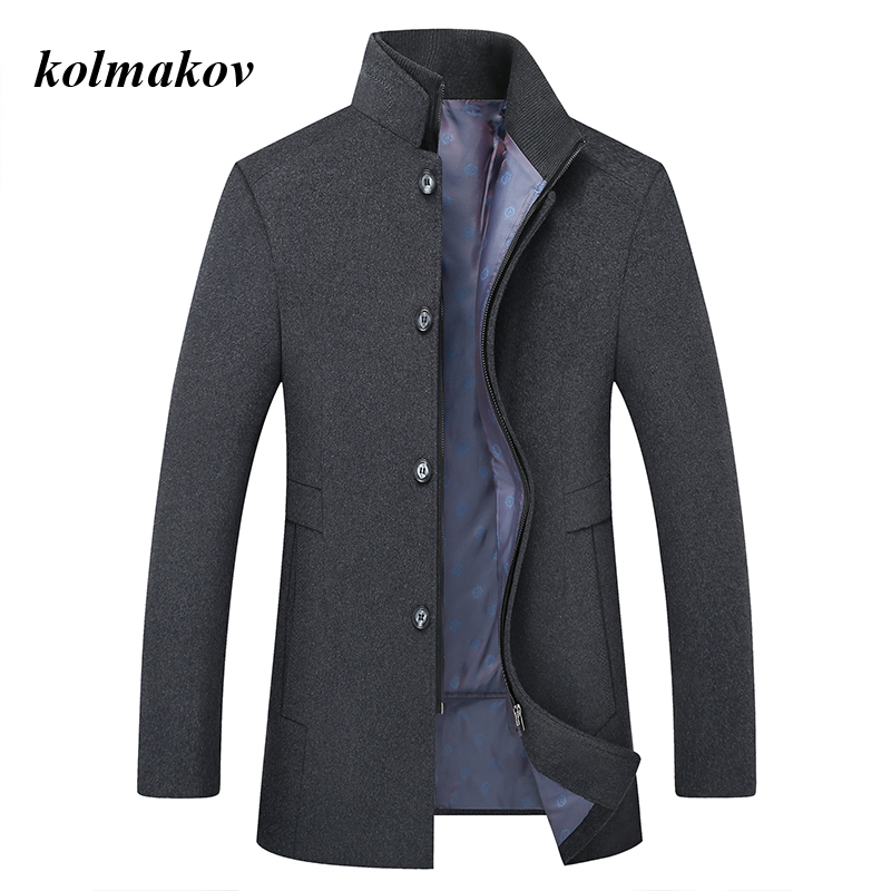 New Arrival Winter Style Men Boutique Woolen Coat High Quality Wool Thicked Trench Coat Men's Solid Woolen Jackets Size M-6XL