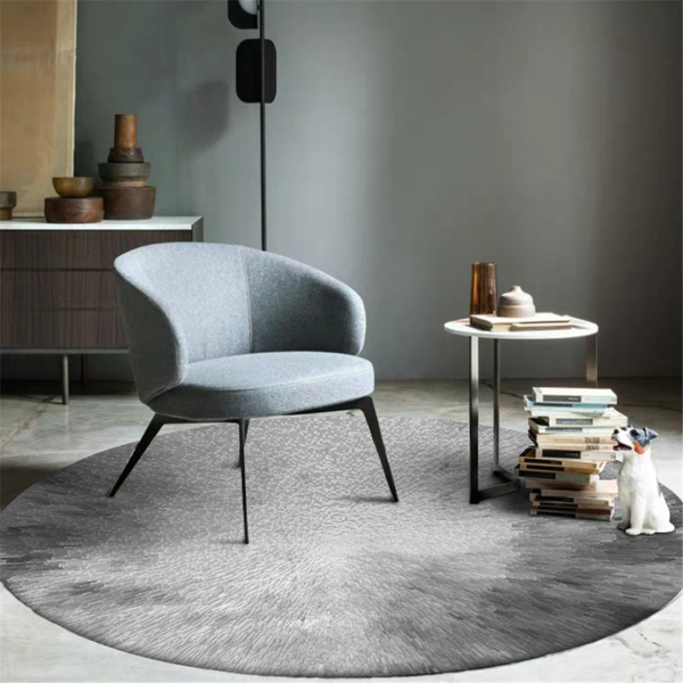 3D Gray Round Room Carpet Living Room Simple Pale Rugs And Mats For Coffee Table Area Rug For Brdroom Home Decoration Modern