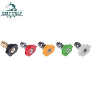 Image 2 - 7 색 금속 노즐 고압 세척기 스테인레스 스틸 퀵 노즐 팁 0 15 25 40 비누 노즐 280bar 4000psi