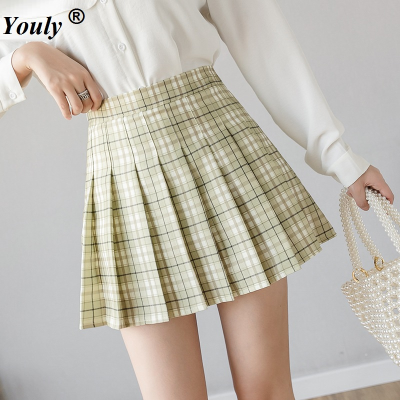Plus Size Plaid Mini Pleated Skirts Women 2020 New Korean Style Harajuku Casual Loose  A-Line Skirt High Waist Sexy Party Skirt
