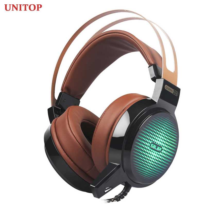 UNITOP Salar C13 Gaming Big Headset Wired Headphones with Mic LED Light Over Ear Stereo Deep Bass for PC Computer Gamer Earphone