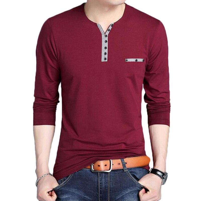 Pop T-Shirt à manches longues hommes automne mode bouton col en V T-Shirt hommes VogueCotton manches complètes Slim Fit t-shirts 5XL chandail