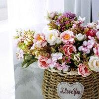 Silk Künstliche Pfingstrose Blumen Kleinen Blumenstrauß Herbst Wohnzimmer Hause Dekoration Gefälschte Blume DIY Anordnung für Hochzeit Garten