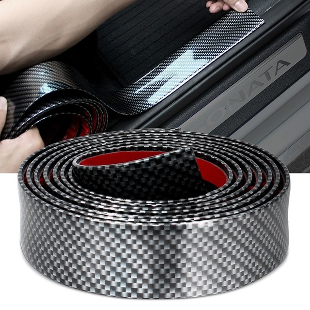2M סיבי פחמן מגן רכב מדבקות דלת Edge משמר סרט גומי יציקת Trim רצועת DIY עבור רכב סטיילינג אבזרים