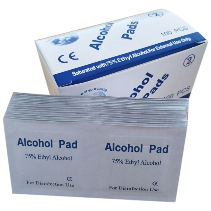 200Pcs/Lot 75% Alcohol Prep Swap Pad Wet Wipe For Antiseptic Skin Cleaning Care Jewelry Mobile Phone Clean