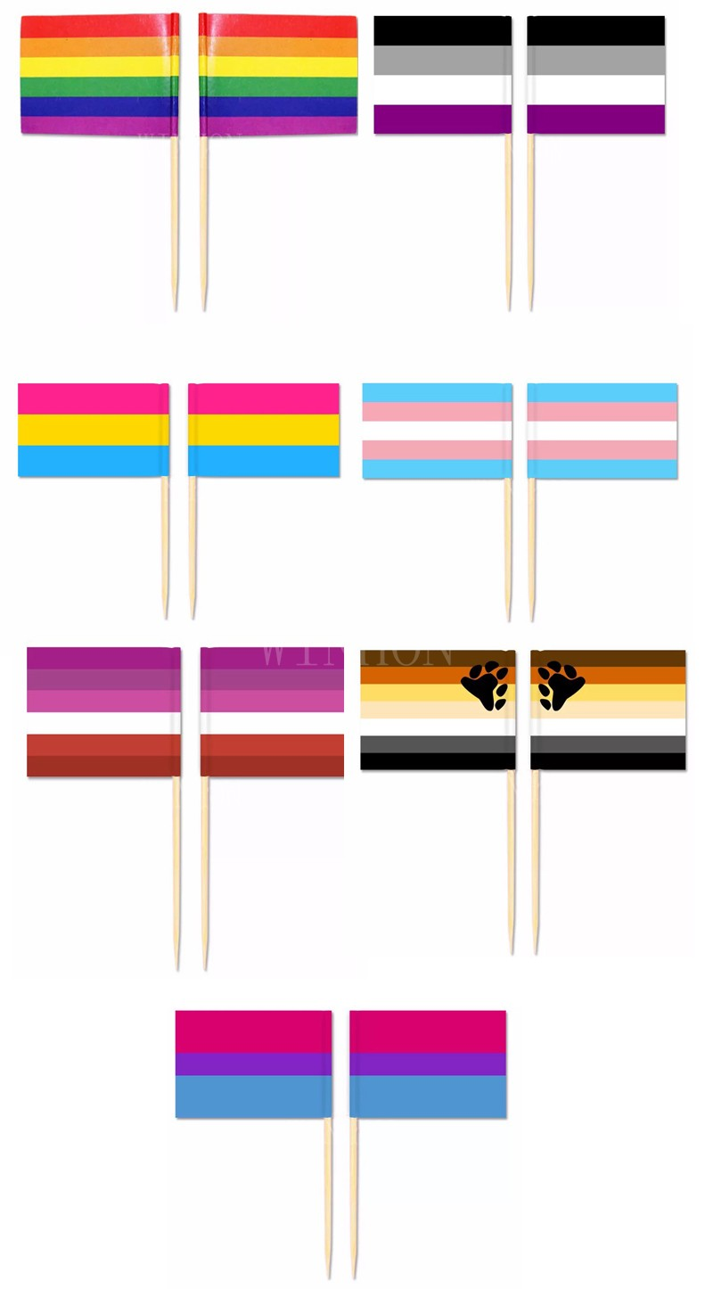 Mini Rainbow <font><b>Flag</b></font> Toothpick <font><b>Flag</b></font> 50pcs/bag Lesbian Gay <font><b>Pride</b></font> LGBT Transgender Pansexual <font><b>Bisexual</b></font> Brootherhood image