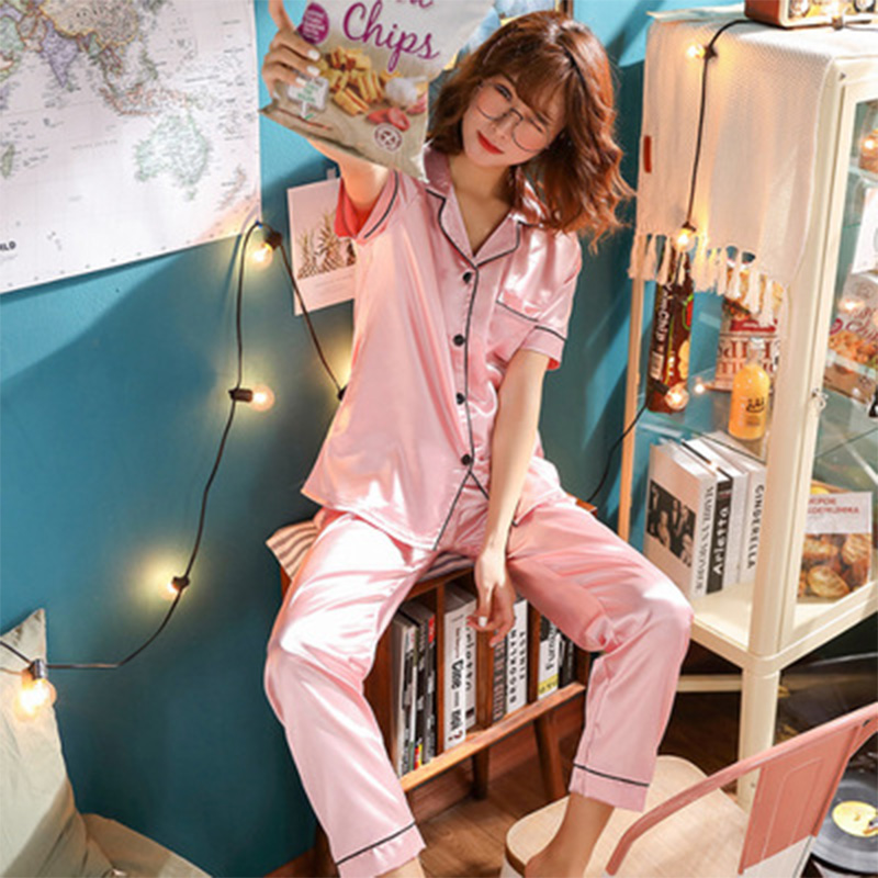 VDOGRIR Silk Pajama Sets For Women Luxury Long Sleeve Pyjamas Sleepwear Oversize 2 Pcs Button UP Pijama With Bags Sexy Homewear