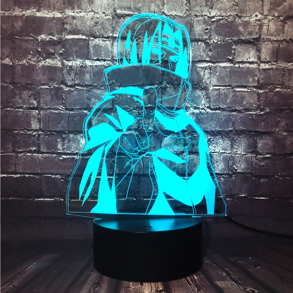 Japan Anime Creative 3D Naruto Sasuke Uchiha Itachi LED Room Decor 7 Color Change Table Night Light Holiday Birthday Fun Gift