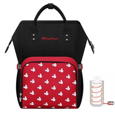 Disney Mochila Maternidade Waterproof Diaper Bags USB Bottle Feeding Travel Backpack Baby Bags For Mom Storage Bag Mummy Bags