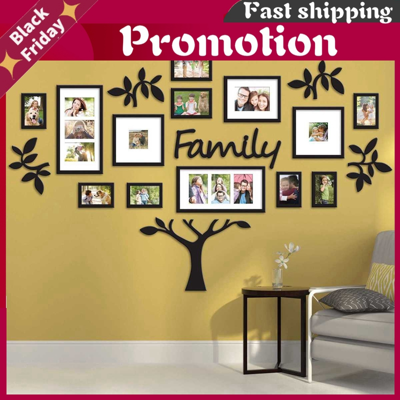 DIY Acrylic Wall Stickers Family Photo Frame Tree Wall Sticker Home Decor Living Bedroom Art Picture Frame Wall Decals Poster