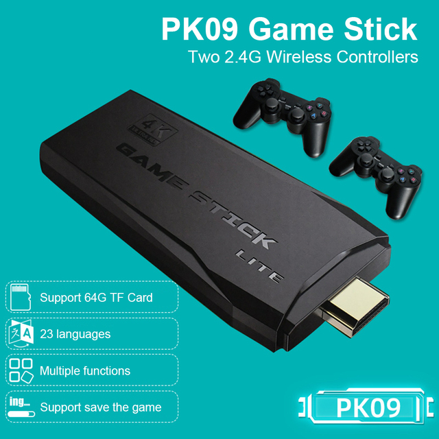 POWKIDDY Tv Game Stick 4K HD Video Game Console Retro Arcade 64GB 10000 Games Wireless Dual Controller Gamepad Childrens Gifts