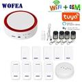Wofea Tuya Wifi GSM вспышка стробоскоп охранная сигнализация 110 дБ звук и свет SMS автоматический набор приложение push работа с alexa google home