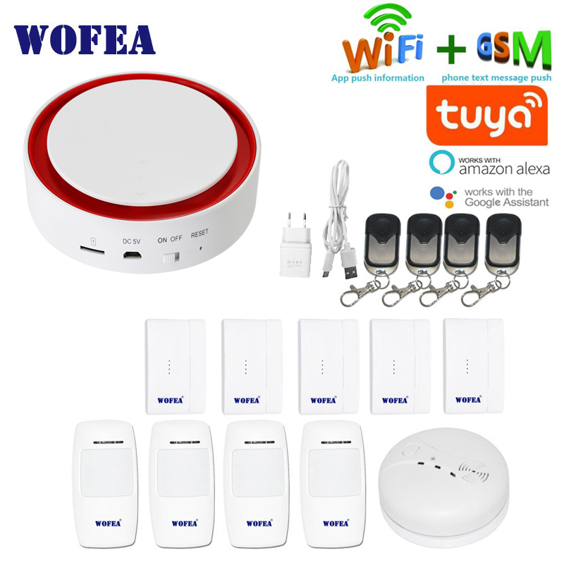 Wofea Tuya Wifi GSM Flash Strobe Security Alarm System 110 DB Sound & Light SMS Auto Dial APP Push Work With Alexa Google Home