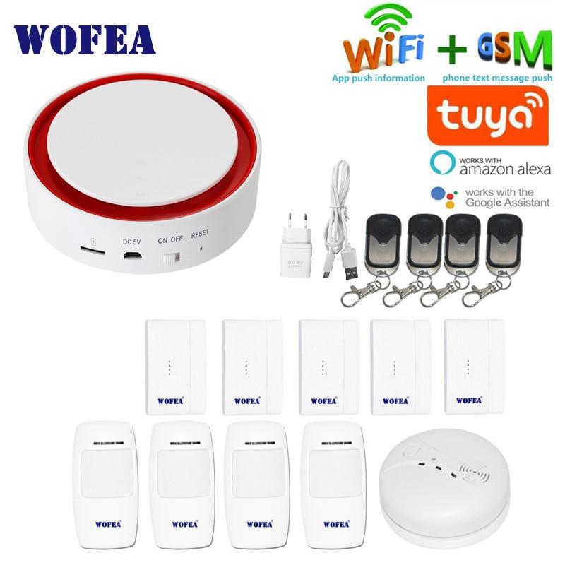 Wofea Tuya Wifi GSM Flash Strobe Security Alarm System 110 DB Sound & Light SMS Auto Dial APP Push Work With Alexa Google Home