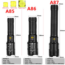 Xhp90.2 Powerful Led Flashlight 20W Power Bank High Quality Torch Rechargeable 18650 or 26650 Battery Zoom Lantern Light Litwod