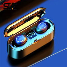 Bluetooth Earphones F9 TWS 9D Stereo Wireless Headphones Sport Waterproof Mini Black Earbuds with 2000mAH