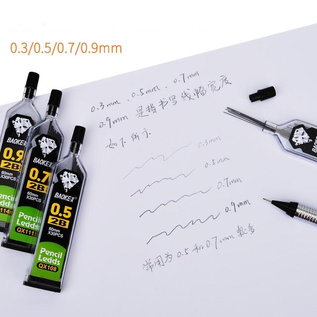 30pcs/tubo Matita Conduce per Meccanica Matita 0.3 millimetri 0.5 millimetri 0.7 millimetri 0.9 millimetri 2B HB 2H Automatico Ricariche Matita Scuola di Forniture Per Ufficio