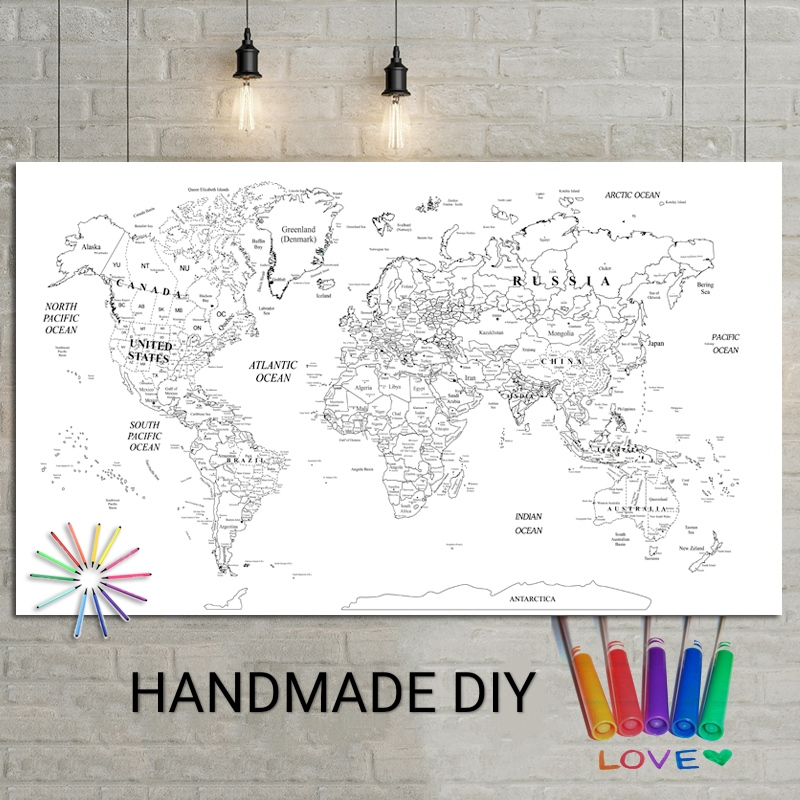 DIY World Map Poster Wall Decoration Large World Map 100x50 Waterproof Canvas Map Color Is Up To You