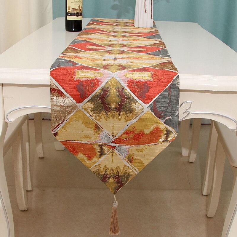 Ev ve Bahçe'ten Şık Masa Örtüleri'de Geometrik masa örtüsü yüksek kaliteli masa koşucu akdeniz dikdörtgen masa örtüsü mürekkep render otel ev masa süsü title=