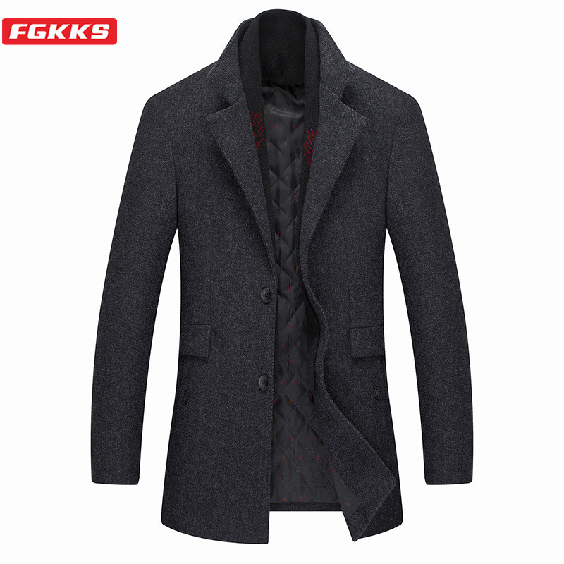 FGKKS Winter Men Wool Blend Coat Fashion Brand Men's High Quality Casual Overcoat Solid Color Thick With Scarf Wool Coats Male