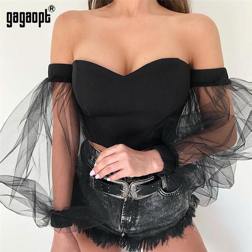 Gagaopt короткий топ с открытыми плечами женские осенние рубашки с длинными рукавами Женская Сексуальная Блузка для вечеринок