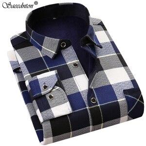 Новинка 2020, зимняя теплая рубашка плюс Вельветовая утепленная модная клетчатая рубашка с принтом, Мужская брендовая рубашка с длинным рука...